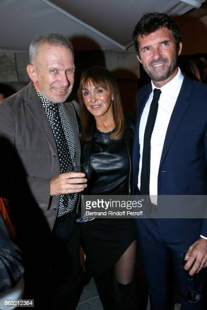 JeanPaul Gaultier Babeth Djian and CEO of Mazarine Group PaulEmmanuel Reiffers attend the Dinner for the Art Exhibition Reflexion Redux and the...
