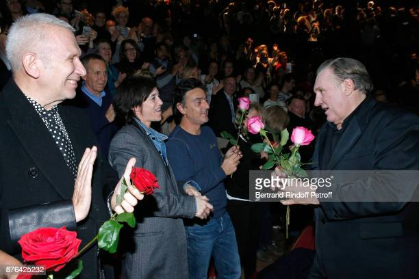 JeanPaul Gaultier Charlotte Gainsbourg and Yvan Attal attend Gerard Depardieu acknowledges the applause of the audience and gives flowers at the end...
