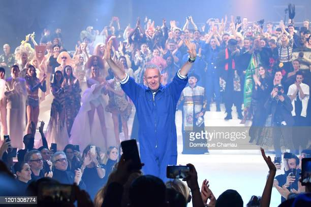 JeanPaul Gaultier greet the audience during the JeanPaul Gaultier Haute Couture Spring/Summer 2020 show as part of Paris Fashion Week at Theatre Du...