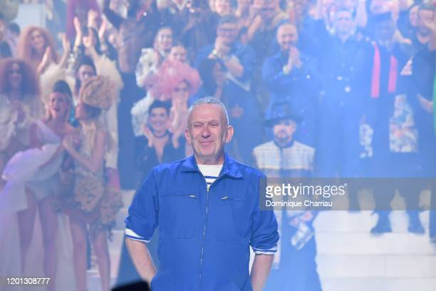 Jean-Paul Gaultier greet the audience during the Jean-Paul Gaultier Haute Couture Spring/Summer 2020 show as part of Paris Fashion Week at Theatre Du...