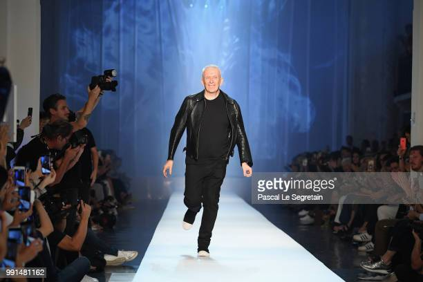 JeanPaul Gaultier walks the runway during the JeanPaul Gaultier Haute Couture Fall Winter 2018/2019 show as part of Paris Fashion Week on July 4 2018...
