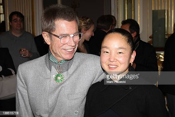 JeanPaul Goude and his wife Karen Goude attend the 'Personalities Of Design And Photography Honored' ceremony at Ministere de la Culture on February...