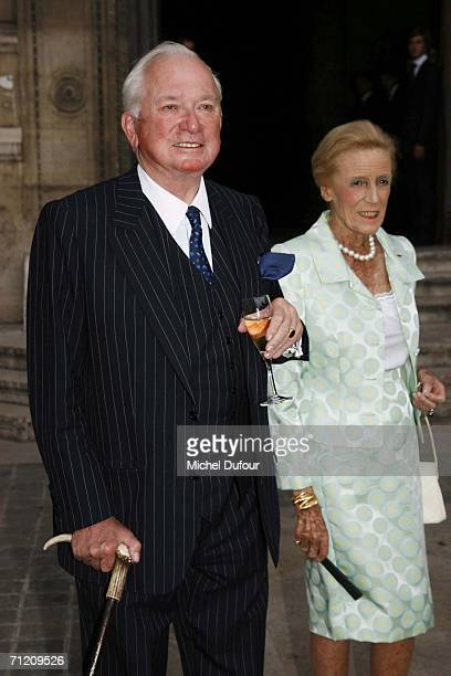 Jean-Paul Guerlain and his wife attend the Guerlain party at the Guerlain fragance and cosmetics boutique on June 14, 2006 in Paris, France. Hilary...