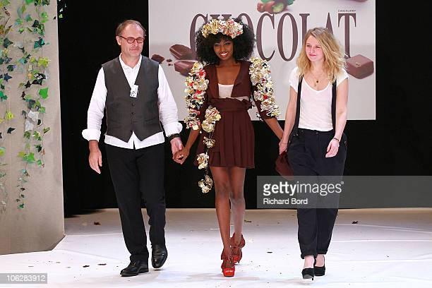 JeanPaul Hevin singer Inna Modja and designer Sophie Dupuy attend the Chocolate dress fashion show celebrating Salon du Chocolat 2010 Opening Night...