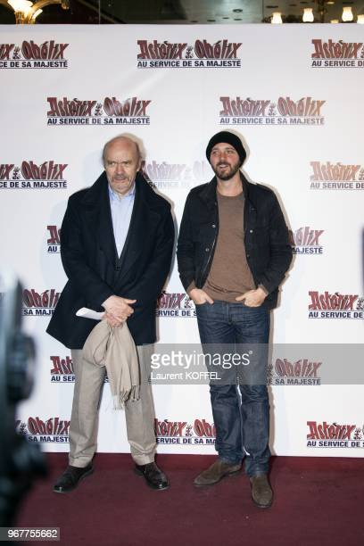 JeanPaul Rappenau and son Martin Rappeneau attend at 'Asterix et Obelix au service de sa majeste' film premiere at 'Le Grand Rex' on September 30...