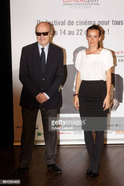 JeanPaul Rappeneau and Salome Stevenin attend the photocall before The Lumiere Prize ceremony during 9th Film Festival Lumiere on October 20 2017 in...