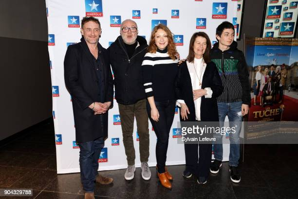 JeanPaul Rouve Olivier Baroux Sarah Stern Claire Nadeau and Theo Fernandez attend 'Tuche 3' premiere at Lomme Kinepolis on January 12 2018 in Lille...