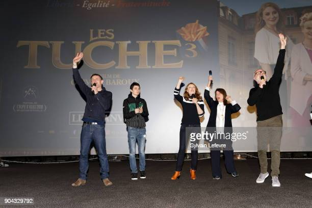 JeanPaul Rouve Theo Fernandez Sarah Stern Claire Nadeau and Olivier Baroux attend 'Tuche 3' premiere at Lomme Kinepolis on January 12 2018 in Lille...