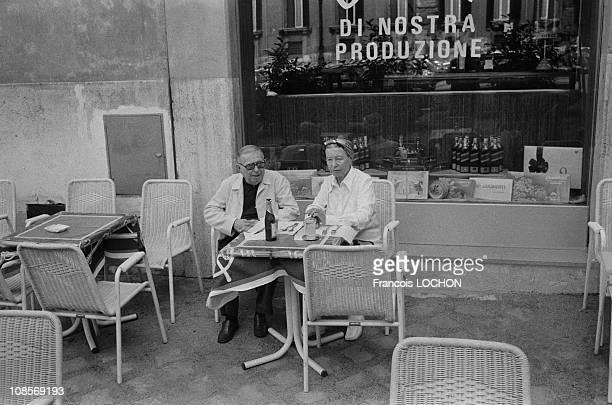 JeanPaul Sartre and Simone de Beauvoir in Rome Italy in September 1978