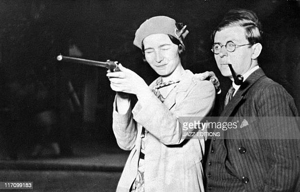 JeanPaul Sartre and Simone de Beauvoir in their first picture together at a fair Porte d'Orleans in June 1929 in Paris France
