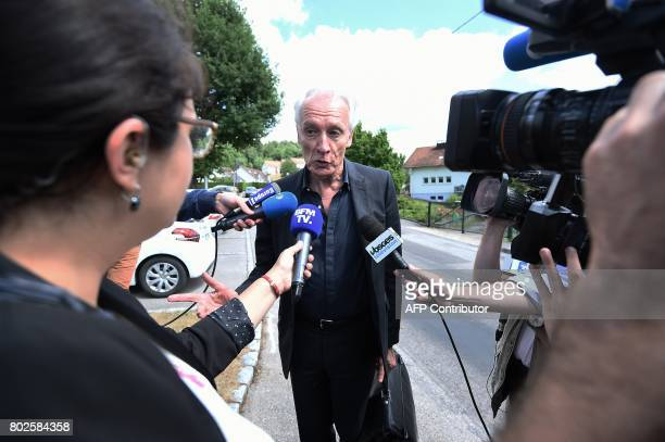 JeanPaul Teissonniere Murielle Bolle's lawyer speaks to the press as he arrives at the Gendarmerie in SaintEtienneLesRemiremont eastern France on...