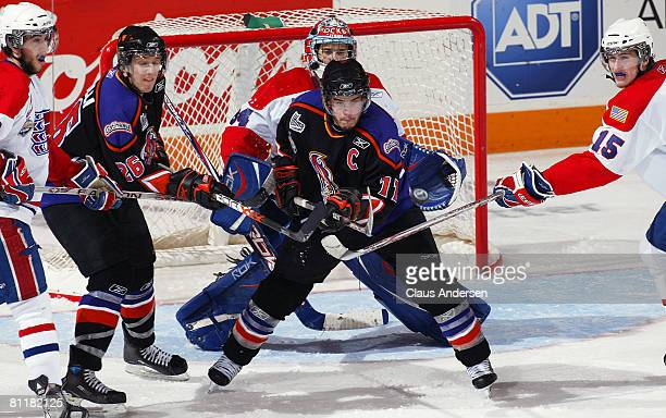Jean-Philip Chabot of the Gatineau Olympiques looks for an incoming shot against the Spokane Chiefs in Game 5 of the Memorial Cup round robin on May...