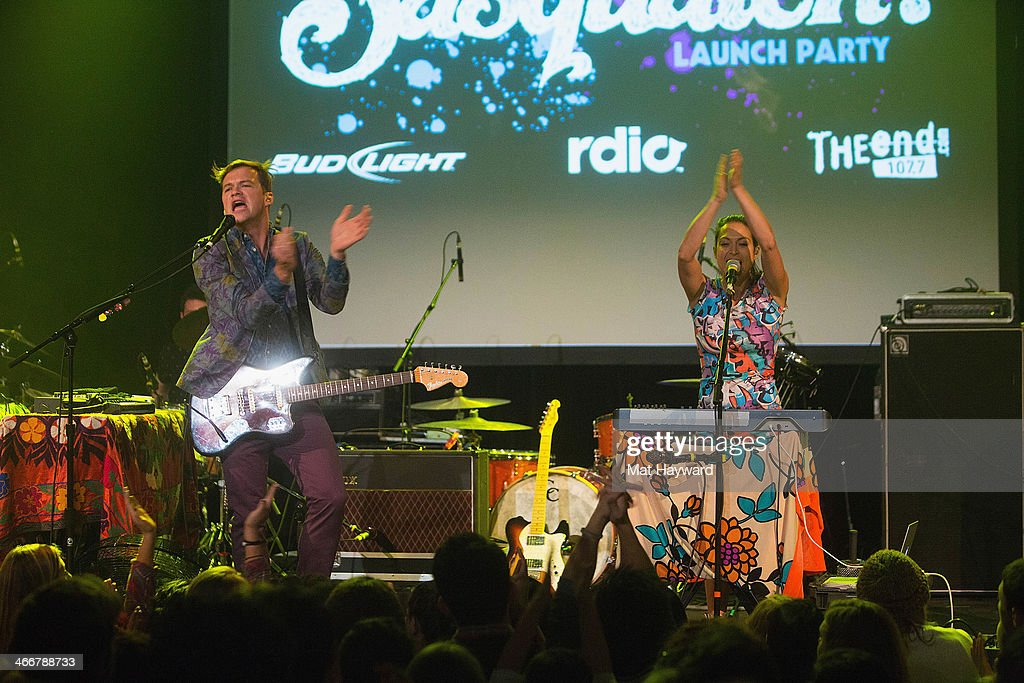 Jean-Philip Grobler (L) and Patricia Beranek of St. Lucia perform on stage during the Sasquatch Launch Party at Neptune Theatre on February 3, 2014 in Seattle, Washington.