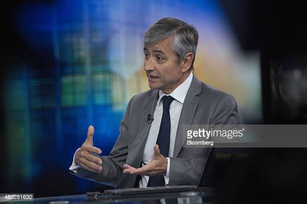JeanPhilippe Courtois president of Microsoft International gestures during a Bloomberg Television interview in London UK on Wednesday July 29 2015...