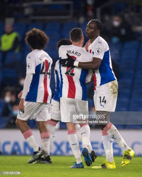 Jean-Philippe Mateta of Crystal Palace celebrate with his teammate Joel Ward after scoring 1st goal during the Premier League match between Brighton...