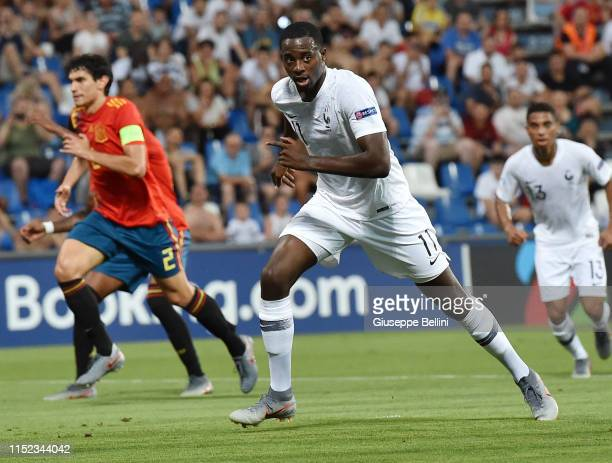 Jean-Philippe Mateta of France celebrates after scoring the opening goal during the 2019 UEFA U-21 Semi-Final match between Spain and France at Mapei...