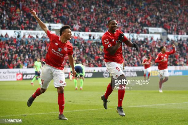 JeanPhilippe Mateta of FSV Mainz celebrates after scoring his team's second goal with Karim Onisiwo of FSV Mainz during the Bundesliga match between...