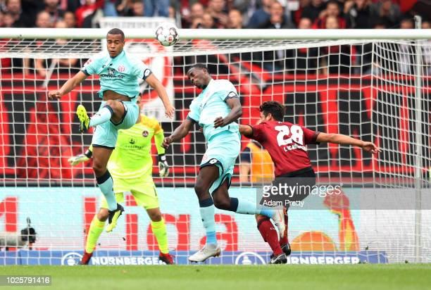 JeanPhilippe Mateta of FSV Mainz scores his team's first goal during the Bundesliga match between 1 FC Nuernberg and 1 FSV Mainz 05 at...