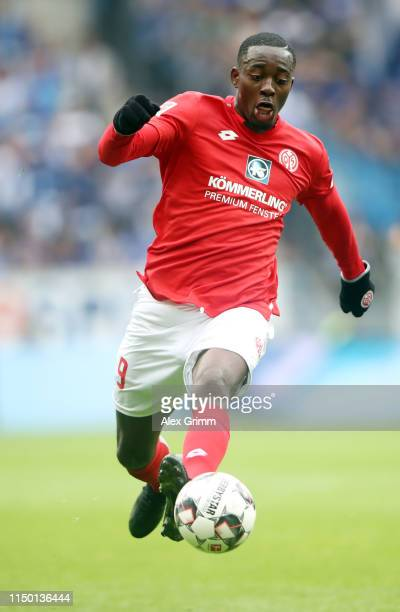 Jean-Philippe Mateta of Mainz controls the ball during the Bundesliga match between 1. FSV Mainz 05 and TSG 1899 Hoffenheim at Opel Arena on May 18,...