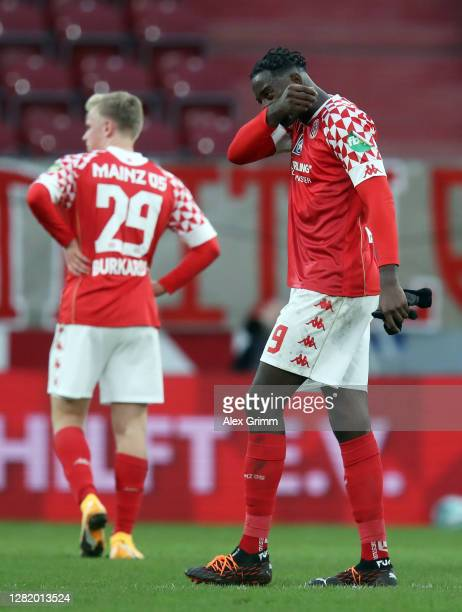 JeanPhilippe Mateta of Mainz reacts after the Bundesliga match between 1 FSV Mainz 05 and Borussia Moenchengladbach at Opel Arena on October 24 2020...