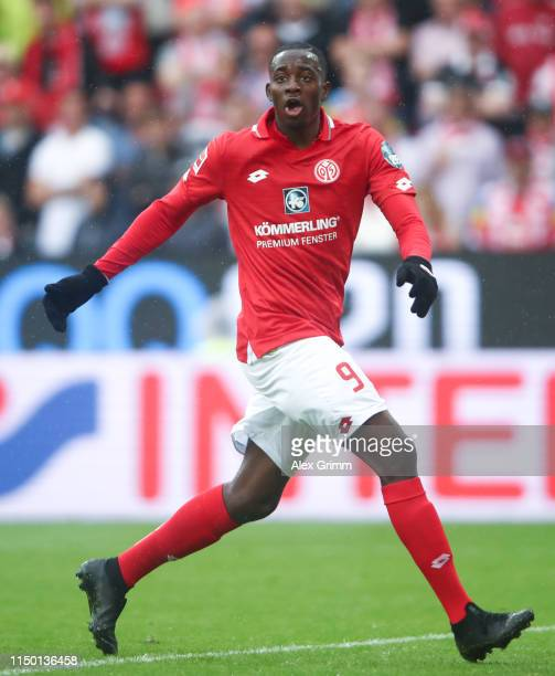Jean-Philippe Mateta of Mainz reacts during the Bundesliga match between 1. FSV Mainz 05 and TSG 1899 Hoffenheim at Opel Arena on May 18, 2019 in...