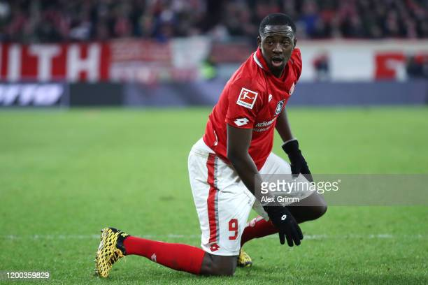 Jean-Philippe Mateta of Mainz reacts during the Bundesliga match between 1. FSV Mainz 05 and Sport-Club Freiburg at Opel Arena on January 18, 2020 in...