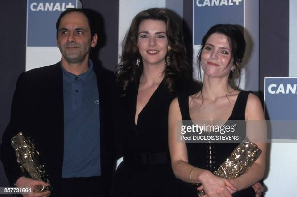 JeanPierre Bacri Maruschka Detmers and Agnes Jaoui at French movie awards ceremony '19th Nuit Des Cesar' on February 26 1994 in Paris France
