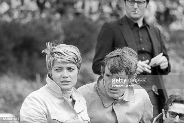 JeanPierre Beltoise Grand Prix of Belgium Circuit de SpaFrancorchamps 09 June 1968 Jacqueline Beltoise with JeanClaude Killy watching the track...