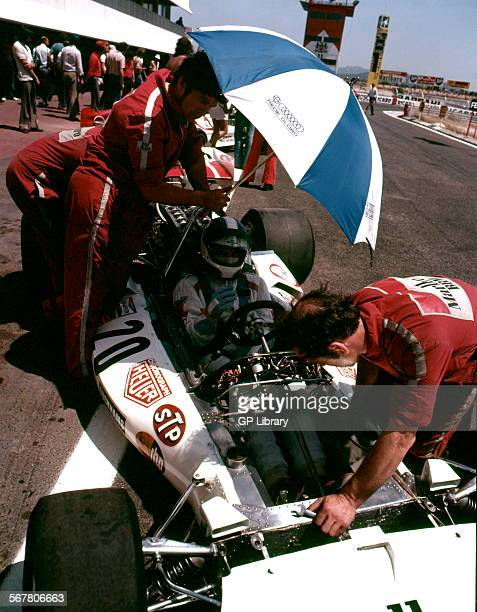 JeanPierre Beltoise in a BRM P160 in the pits finished 11th at the French GP at RicardCastellet circuit France 1 July 1973