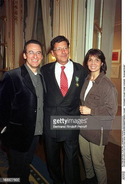 JeanPierre Camus Michel Fugain Stephanie Fugain at Jean Claude Camus Accepts Officier Des Arts Et Lettres In 1997
