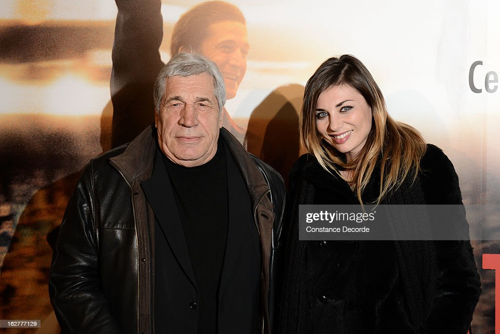 Jean-Pierre Castaldi and Ariane Brodier attends the 'Jappeloup' premiere at Le Grand Rex on February 26, 2013 in Paris, France.
