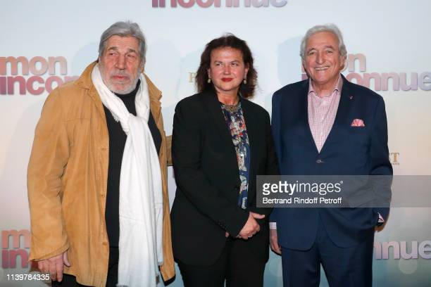"Jean-Pierre Castaldi, Veronique Bachet and her husband Jean-Loup Dabadie attend the ""Mon Inconnue"" Paris Premiere at Cinema UGC Normandie on April..."