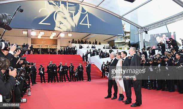 JeanPierre Dardenne actors Marion Cotillard Fabrizio Rongione and director Luc Dardenne attend the 'Two Days One Night' premiere during the 67th...