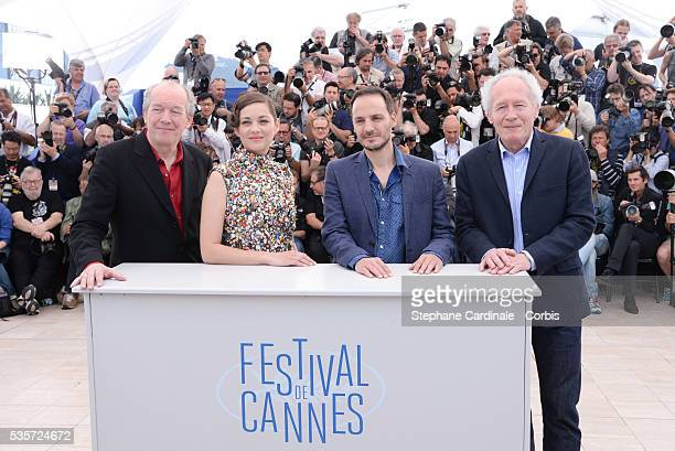 Jean-Pierre Dardenne, Fabrizio Rongione, Marion Cotillard and Luc Dardenne at the 'Two Days, One Night' photocall during the 67th Cannes Film Festival