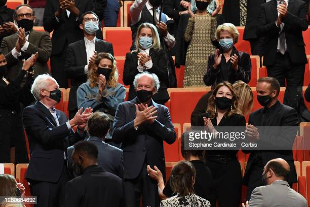 Jean-Pierre Dardenne, Luc Dardenne and Emilie Dequenne during the tribute to the brothers Jean-Pierre Dardenne and Luc Dardenne at the 12th Film...
