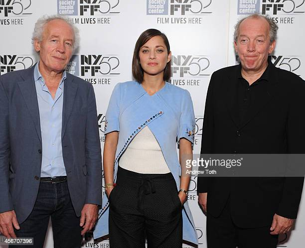 "Jean-Pierre Dardenne, Marion Cotillard and Luc Dardenne attend ""Time Out Of Mind"" premiere during the 52nd New York Film Festival at Alice Tully Hall..."