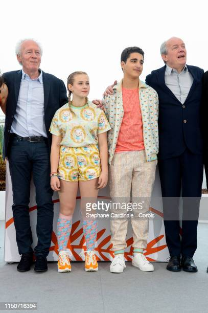 """Jean-Pierre Dardenne, Victoria Bluck, Idir Ben Addi and Luc Dardenne attend the photocall for """"Young Ahmed """" during the 72nd annual Cannes Film..."""