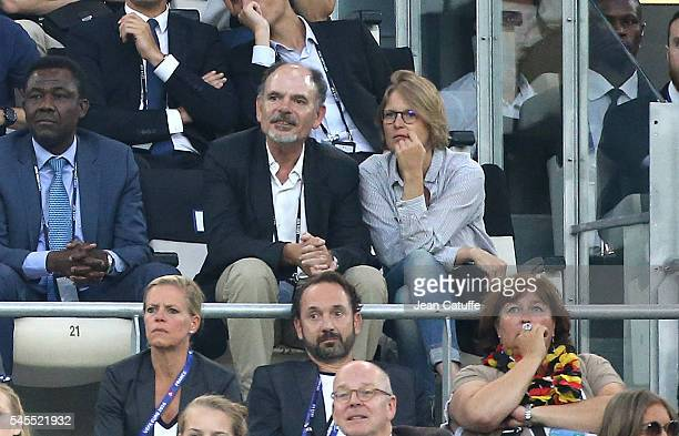 JeanPierre Darroussin and his wife Anna Novion attend the UEFA Euro 2016 semifinal match between Germany and France at Stade Velodrome on July 7 2016...