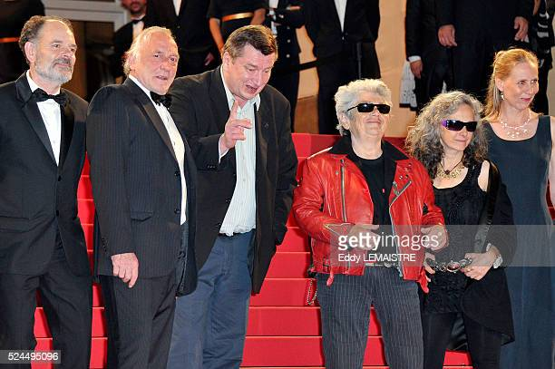 JeanPierre Darroussin Blondin Miguel director Aki Kaurismaki actor Little Bob guest actress Kati Outinen at the premiere of 'Le Havre' during the...