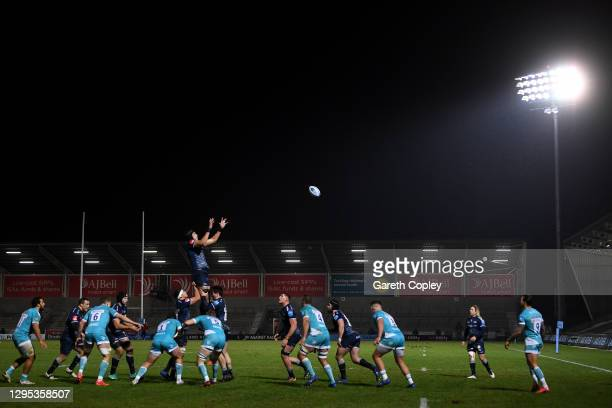 Jean-Pierre Du Preez of Sale claims a line out throw during the Gallagher Premiership Rugby match between Sale Sharks and Worcester Warriors at AJ...