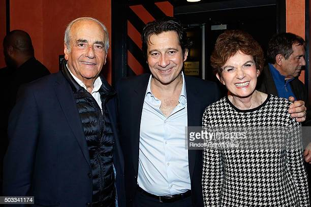 JeanPierre Elkabbach and his wife Nicole Avril and Laurent Gerra attend the Laurent Gerra One Man Show at L'Olympia on December 30 2015 in Paris...