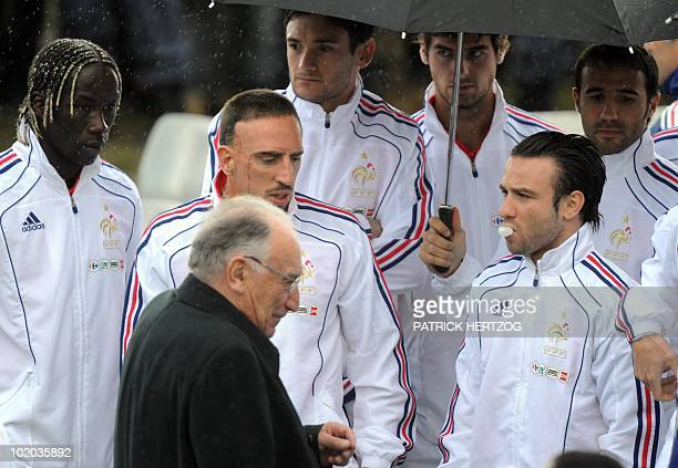 JeanPierre Escalettes president of the French Football Federation Bakary Sagna Franck Ribery Mathieu Valbuena and other members of the French team...