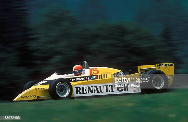 JeanPierre Jabouille of France drives the Equipe Renault Elf Renault RE20 Renault V6turbo during the Austrian Grand Prix on 17th August 1980 at the...
