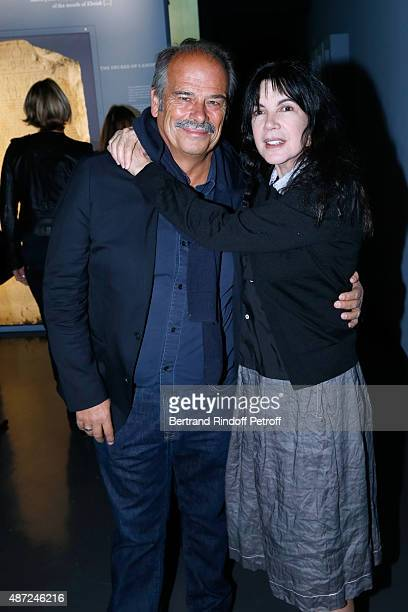 JeanPierre Lavoignat and Carole Laure attend the Inauguration of the 'Osiris Mysteres Engloutis d'Egypte' at Institut du Monde Arabe by the President...