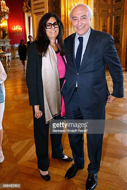 JeanPierre Meyers and his wife Francoise Bettencourt Meyers attend Xavier Darcos receives 'L'Epee d'Academicien' in Paris on October 1 2014 in Paris...