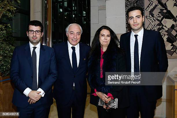 JeanPierre Meyers and his wife Francoise Bettencourt Meyers standing between their sons JeanVictor Meyers and Nicolas Meyers attend President of...