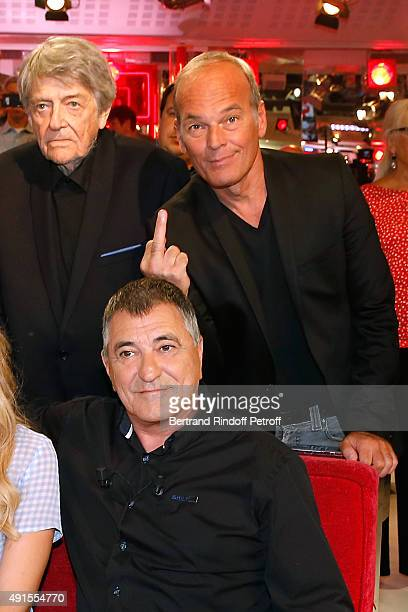 JeanPierre Mocky Laurent Baffie and Main guest of the Show JeanMarie Bigard attend the 'Vivement Dimanche' French TV Show at Pavillon Gabriel on...