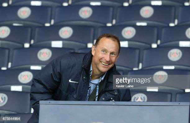 JeanPierre Papin attends the French Cup SemiFinal match between Paris SaintGermain and As Monaco at Parc des Princes on April 26 2017 in Paris France