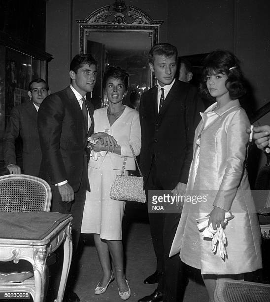 JeanPierre PierreBloch Sacha Distel Francine Breaud his wife Johnny Hallyday and Patricia Viterbo French actress of left on the right Paris 1962 HA...