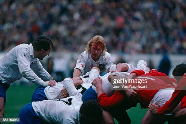 JeanPierre Rives nicknamed 'Casque d'Or' from France with a bloody face during a Five Nations Championship match against Wales France won 169